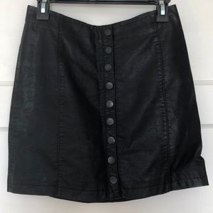 Free people button up leather skirt
